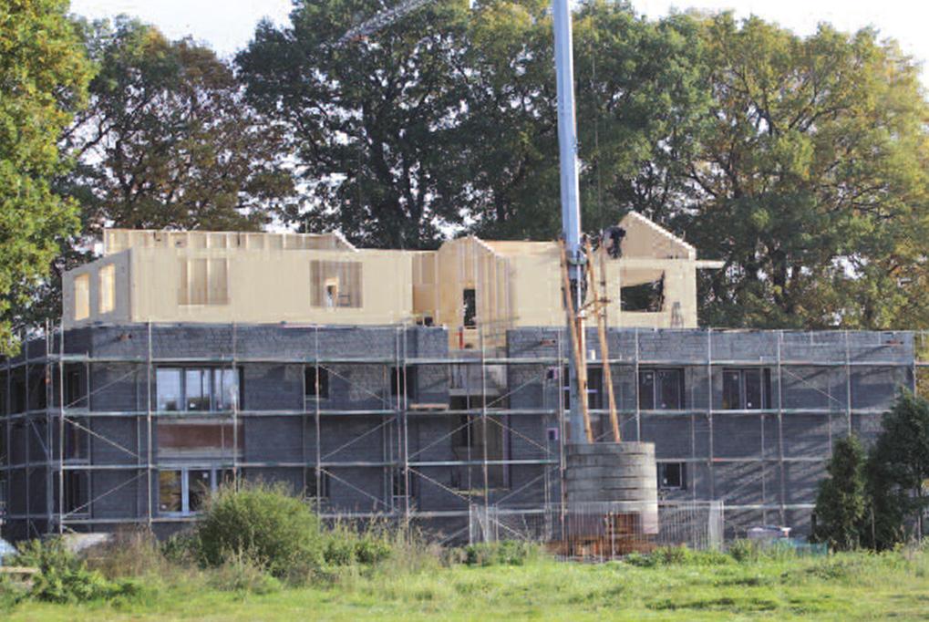 Bauphase Aufstockung mit Holzrahmenbauweise